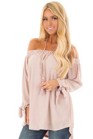 Taupe Off the Shoulder Chiffon Blouse Top front close up