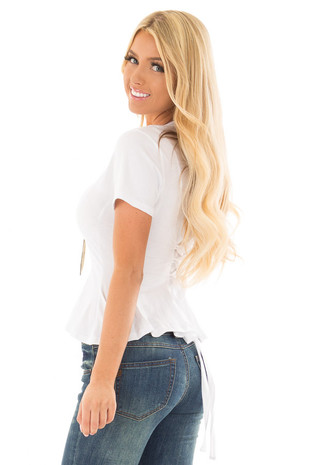 White Top with Lace Up Back Detail front close up
