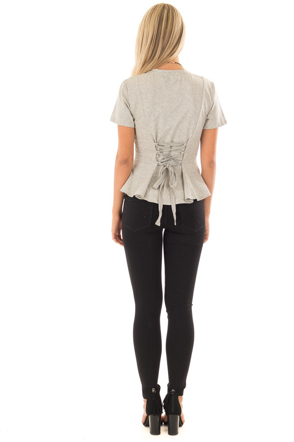 Cement Grey Top with Lace Up Back Detail back full body
