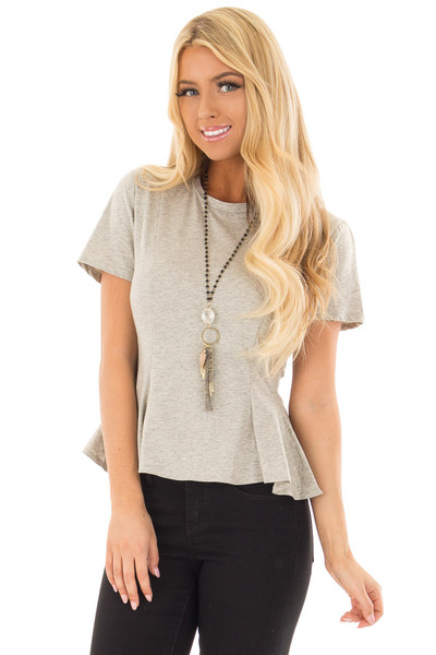 Cement Grey Top with Lace Up Back Detail front close up