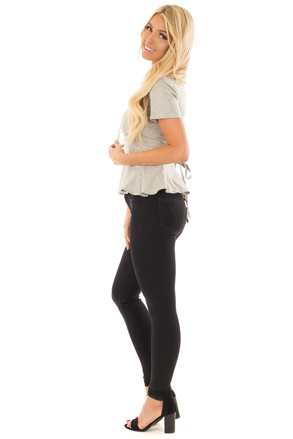 Cement Grey Top with Lace Up Back Detail side full body