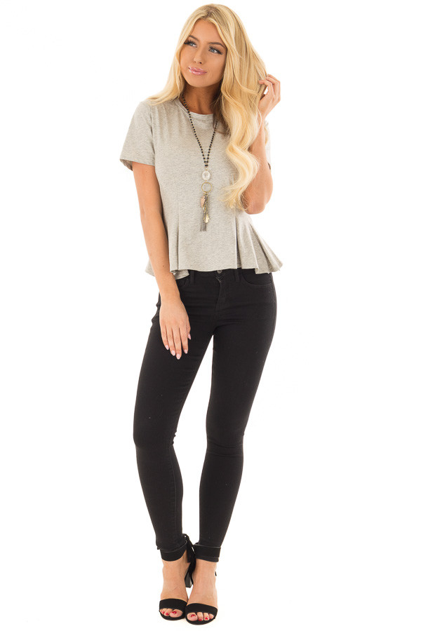 Cement Grey Top with Lace Up Back Detail front full body