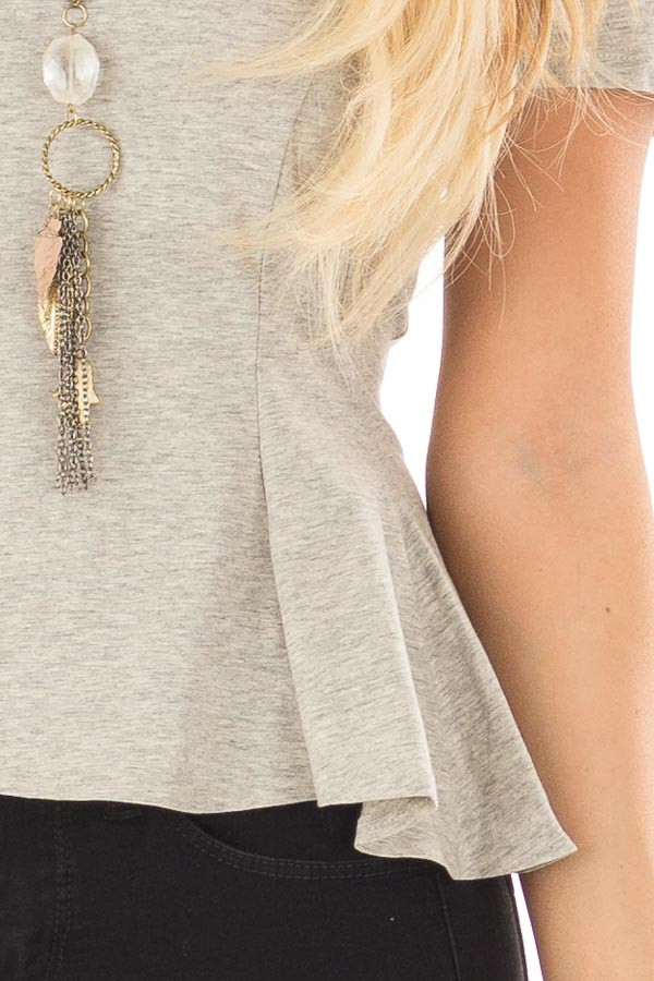 Cement Grey Top with Lace Up Back Detail detail