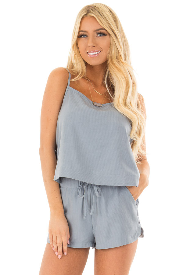 Chambray Two Piece with Side Tie Detail front close up