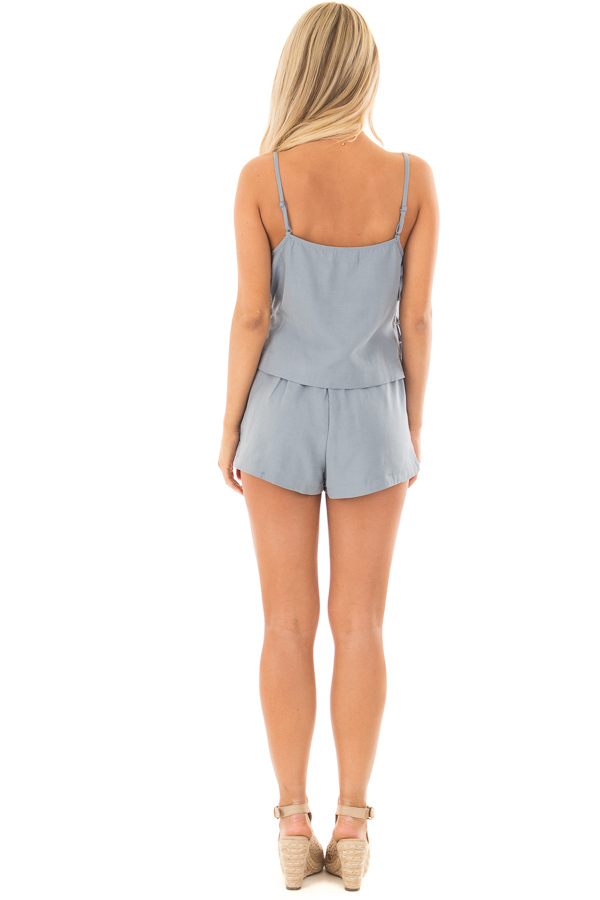 Chambray Two Piece with Side Tie Detail back full body