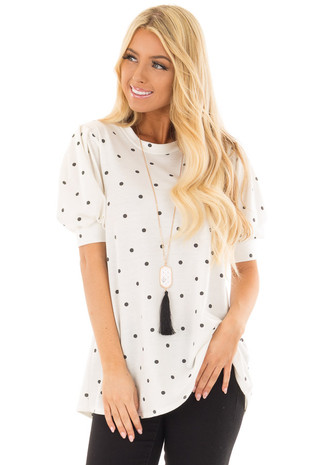 White Bubble Sleeve Top with Black Polka Dots front close up
