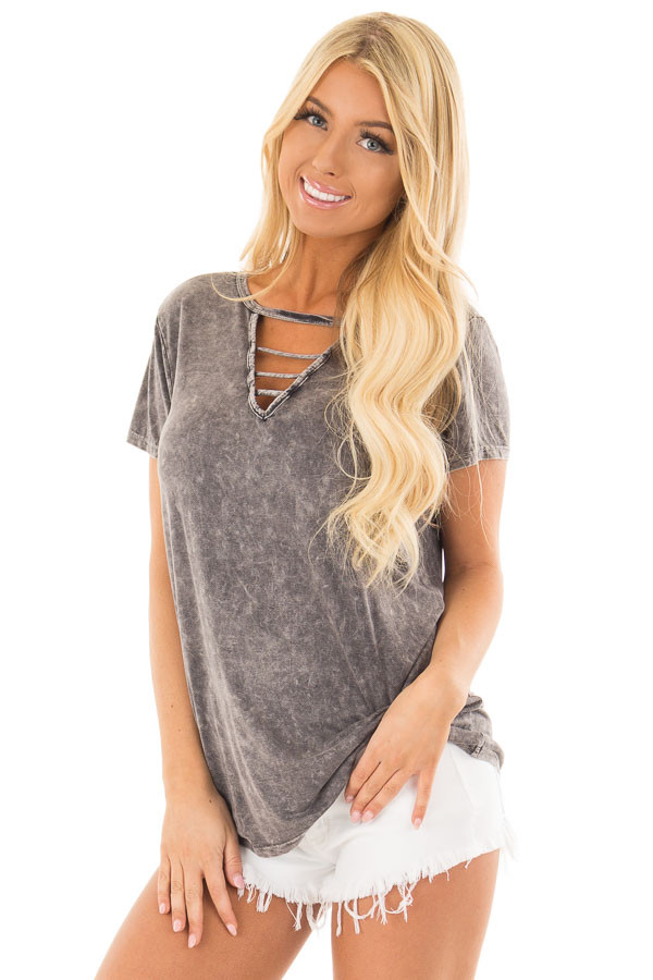 Charcoal Mineral Wash Top with Chest Cutout front close up