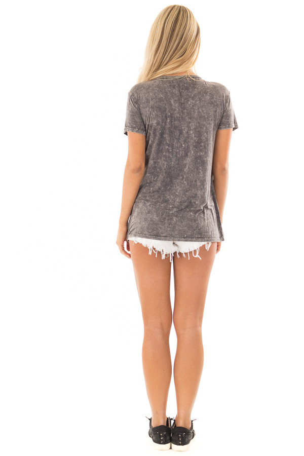 Charcoal Mineral Wash Top with Chest Cutout back full body