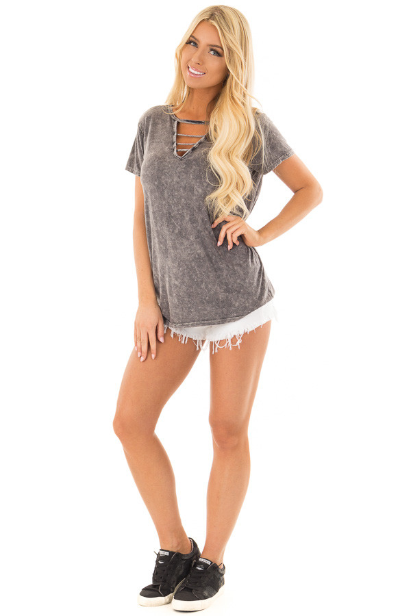 Charcoal Mineral Wash Top with Chest Cutout front full body