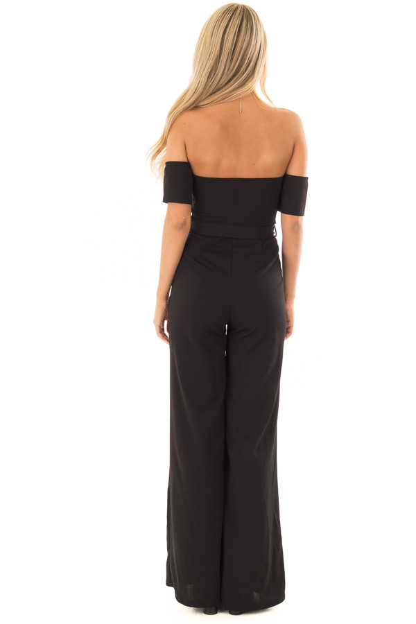 Black Off Shoulder Jumpsuit with Waist Tie back full body