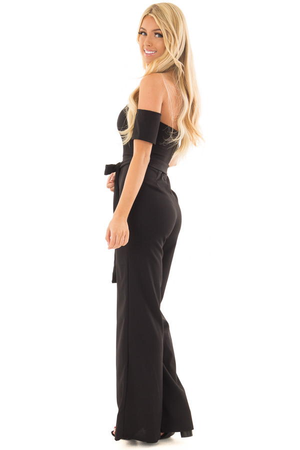 Black Off Shoulder Jumpsuit with Waist Tie side full body