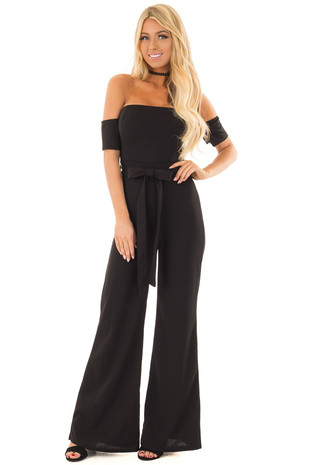 Black Off Shoulder Jumpsuit with Waist Tie front full body