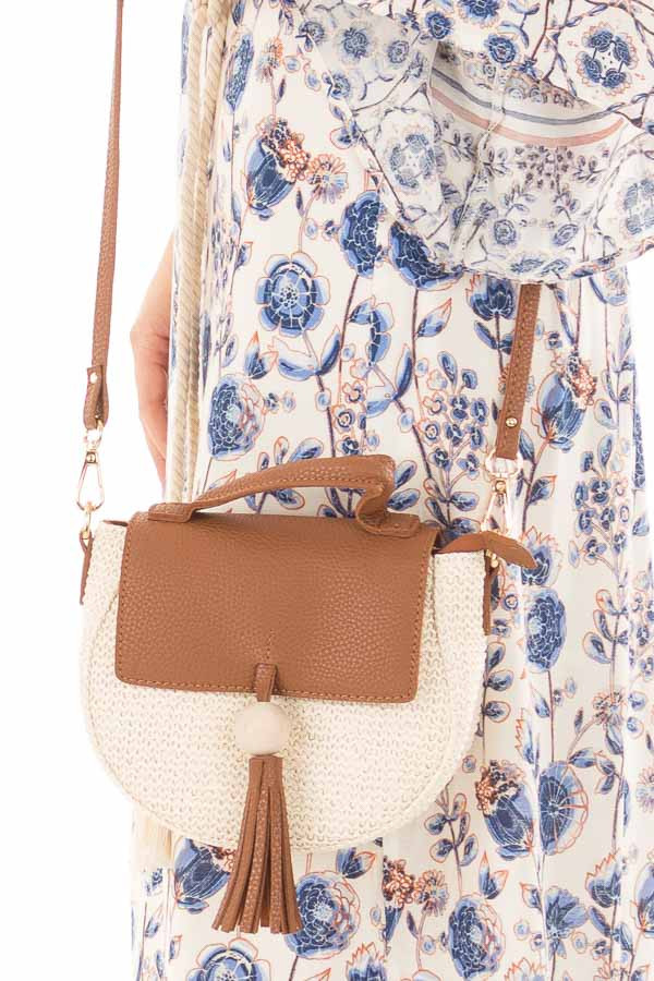 Brown and Beige Small Purse with Tassel Detail detail