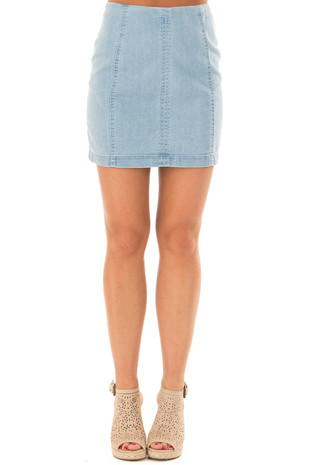 Light Wash Denim High Waisted Mini Skirt front view