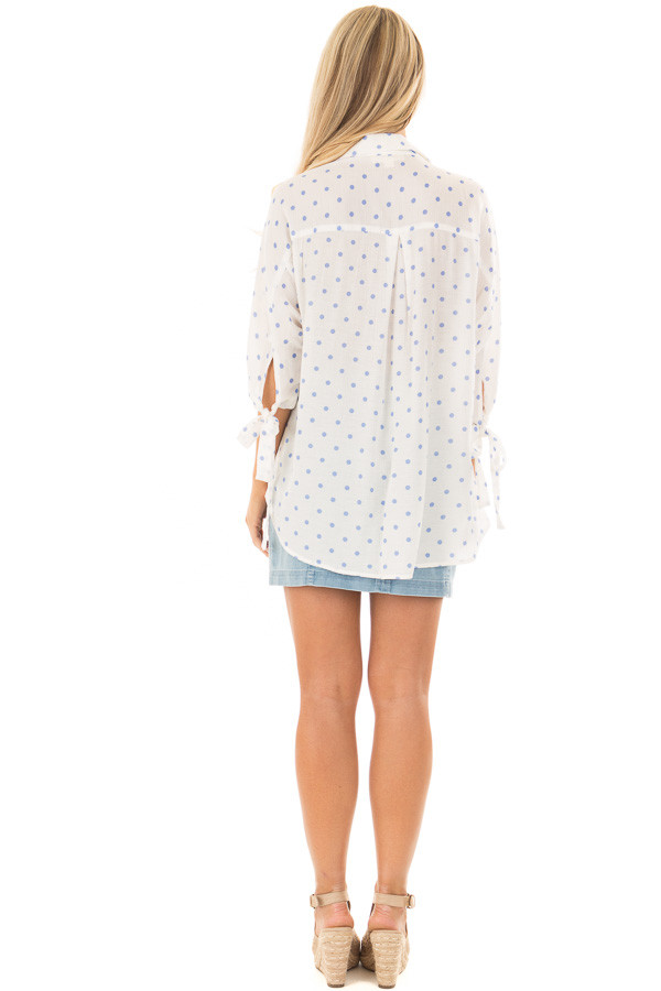 White 3/4 Sleeve Top with Sky Blue Polka Dots back full body