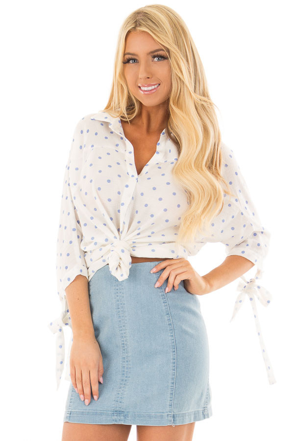 White 3/4 Sleeve Top with Sky Blue Polka Dots front close up