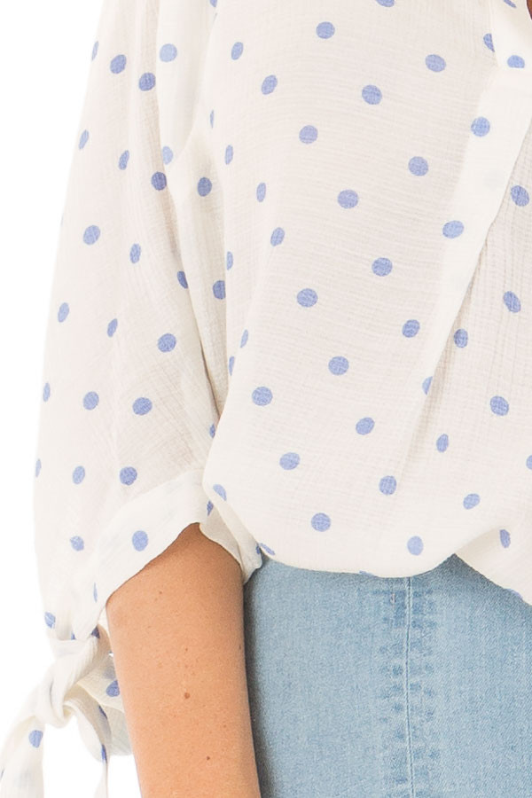 White 3/4 Sleeve Top with Sky Blue Polka Dots detail