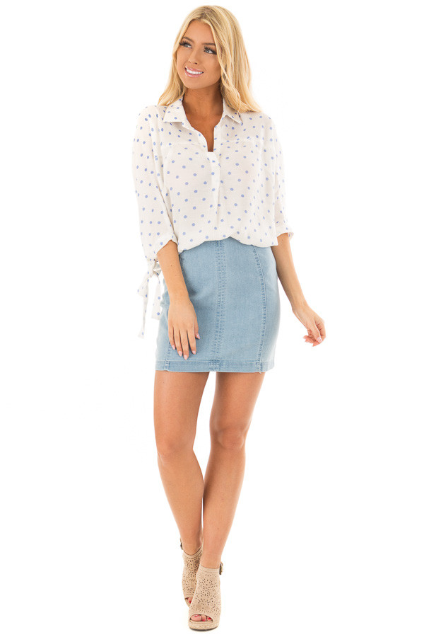 White 3/4 Sleeve Top with Sky Blue Polka Dots front full body