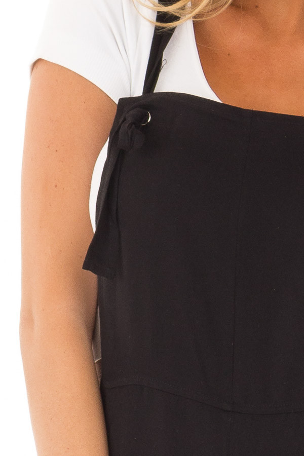 Black Overalls with Pockets and Tie Strap Detail detail