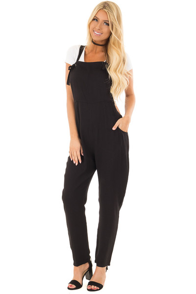 Black Overalls with Pockets and Tie Strap Detail front full body