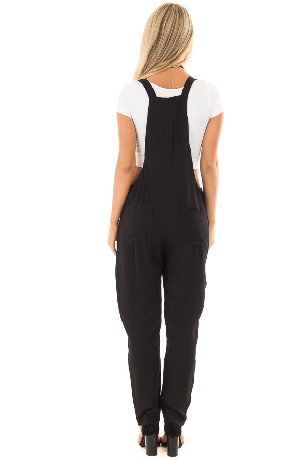Black Overalls with Pockets and Tie Strap Detail back full body