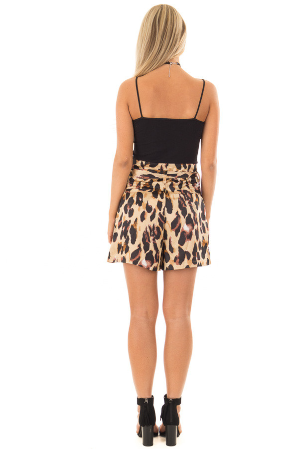 Leopard Print High Waisted Shorts with Belt back full body