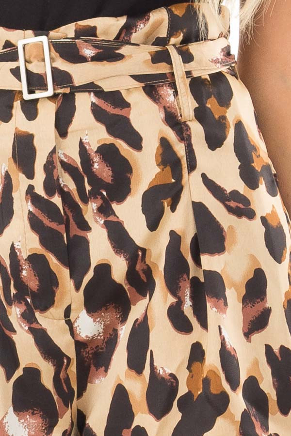Leopard Print High Waisted Shorts with Belt detail