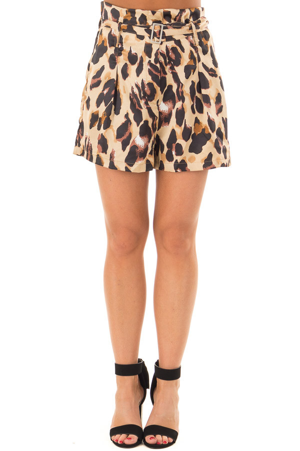 Leopard Print High Waisted Shorts with Belt front view