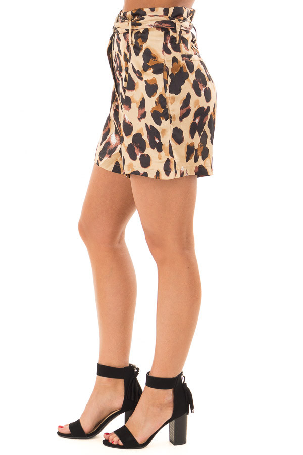 Leopard Print High Waisted Shorts with Belt side view