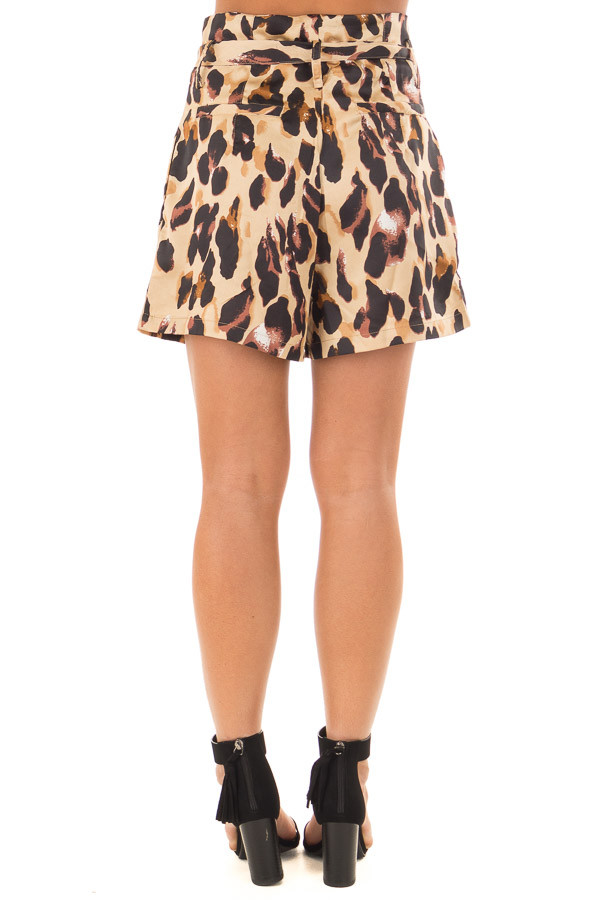 Leopard Print High Waisted Shorts with Belt back view