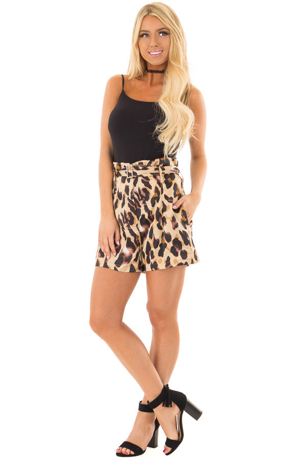 Leopard Print High Waisted Shorts with Belt front full body
