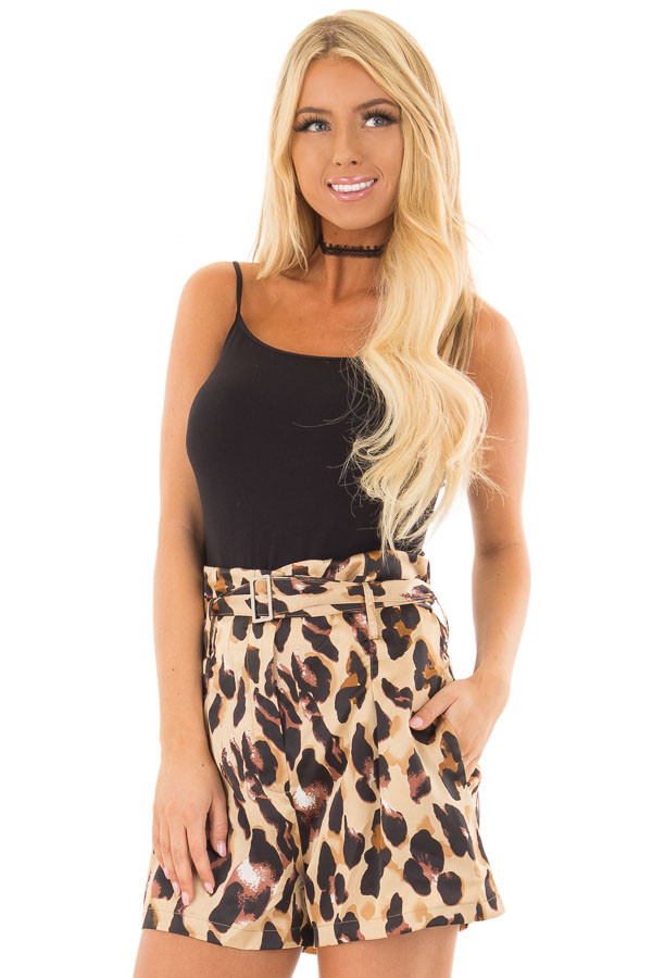 Leopard Print High Waisted Shorts with Belt front close up