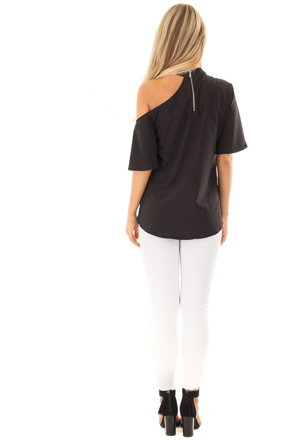 Black Cut Out Bare Shoulder Blouse back full body