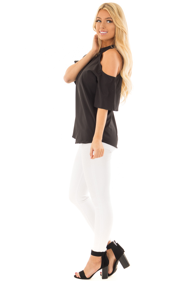 Black Cut Out Bare Shoulder Blouse side full body