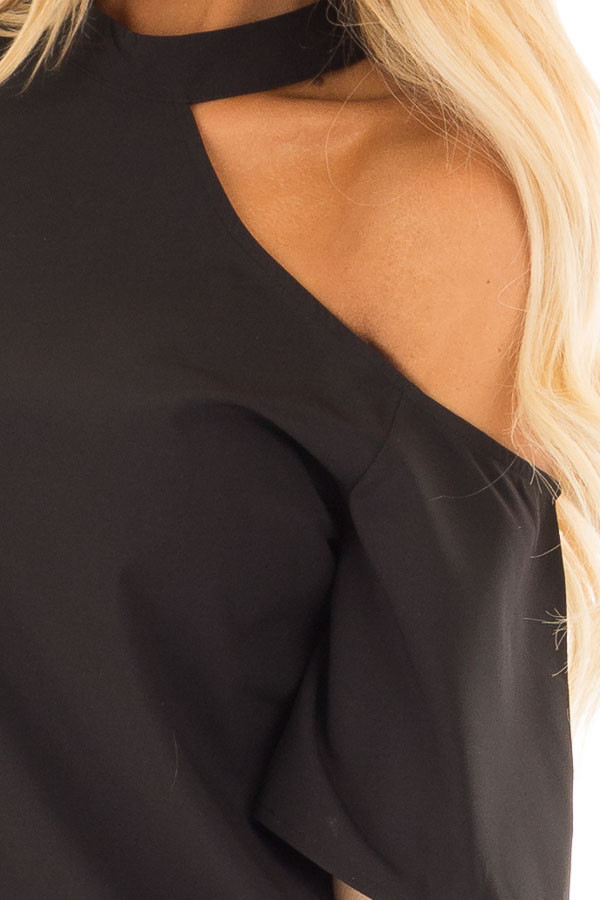Black Cut Out Bare Shoulder Blouse detail