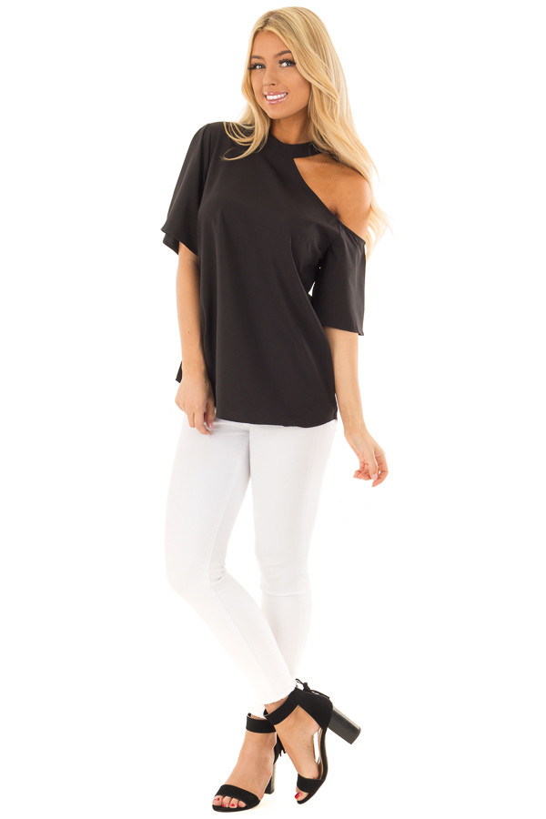 Black Cut Out Bare Shoulder Blouse front full body