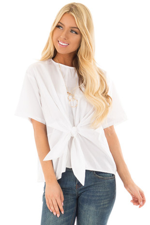 Off White Short Sleeve Blouse with Front Tie Detail front closeup