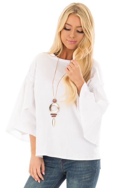 Off White Top with Contrast Bell Sleeves front closeup