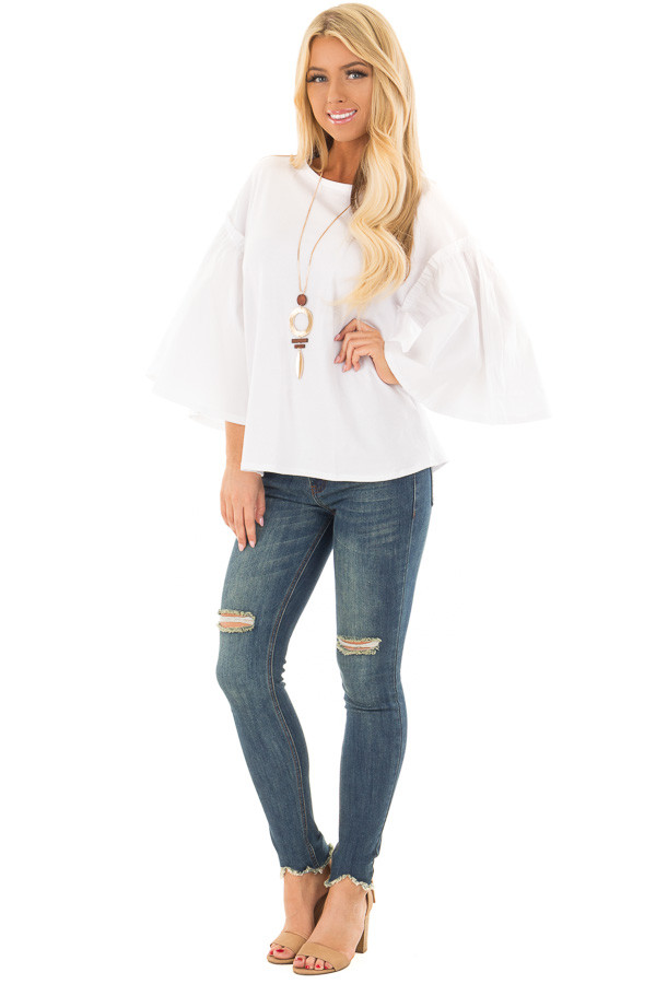 Off White Top with Contrast Bell Sleeves front full body