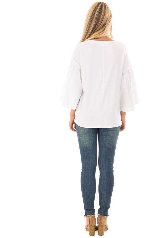 Off White Top with Contrast Bell Sleeves back full body
