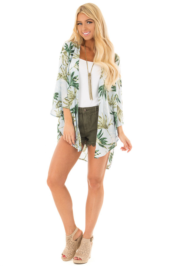 Sky Blue Sheer Kimono with Leaf Print front full body