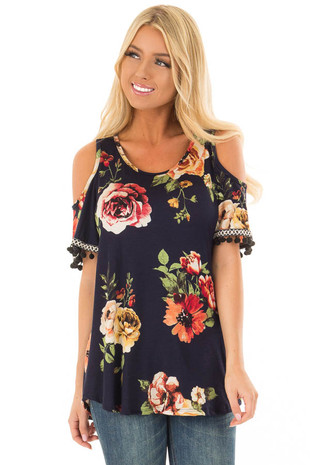 Navy Floral Print Short Sleeve Cold Shoulder Top front closeup