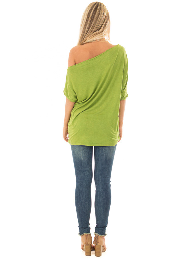 Avocado Loose Fit Off the Shoulder Top back full body