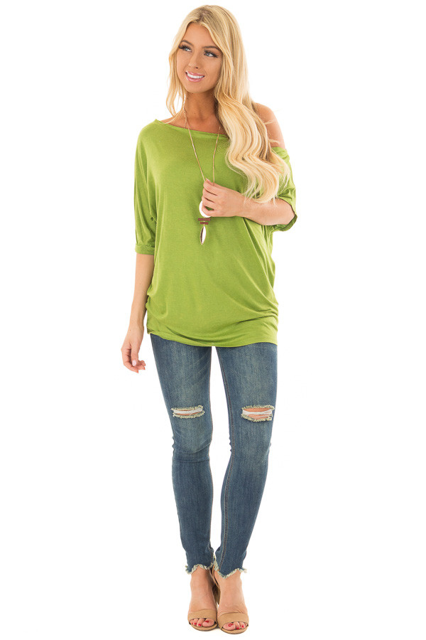 Avocado Loose Fit Off the Shoulder Top front full body
