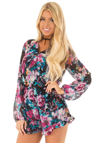 Black Floral Print Long Sleeve V Neck Romper front closeup