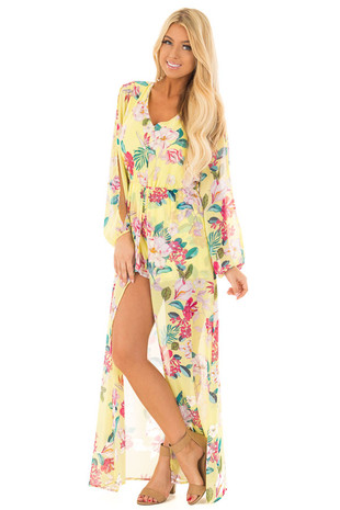 Sunshine Yellow Floral Print Romper with Maxi Skirt front full body