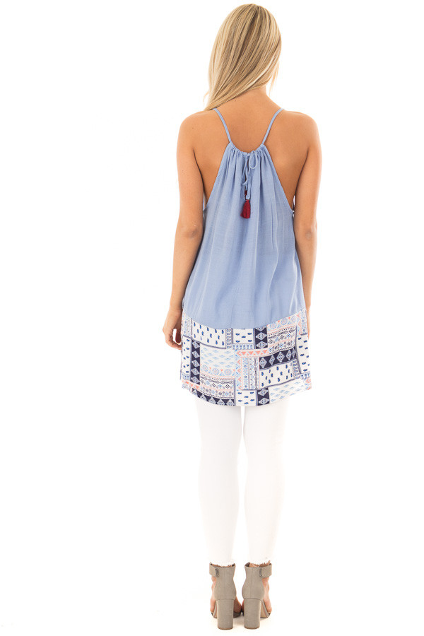 Chambray Embroidered Tank Top back full body