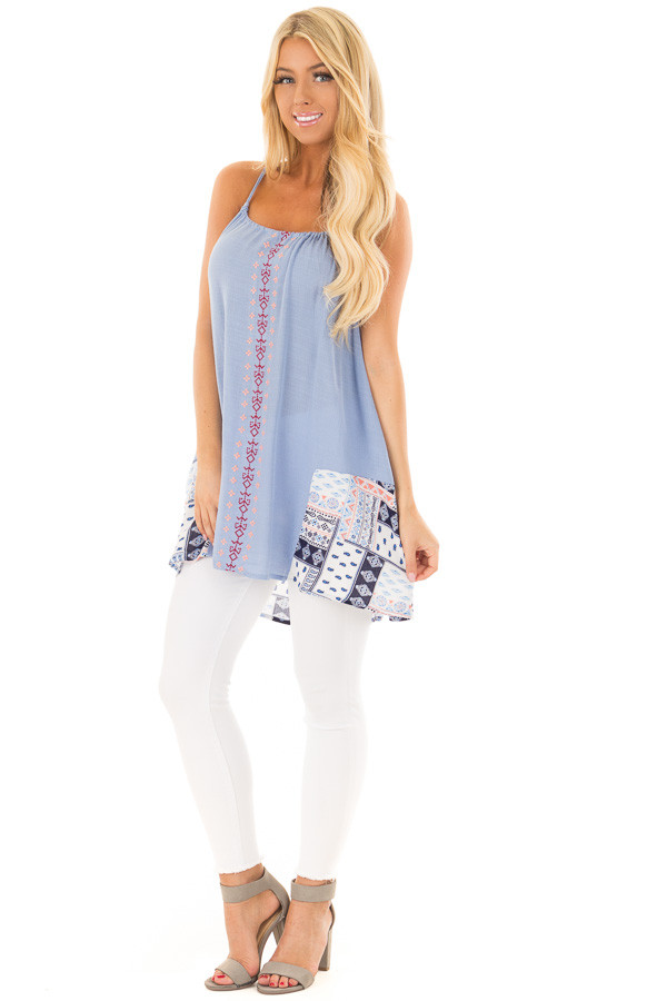 Chambray Embroidered Tank Top front full body