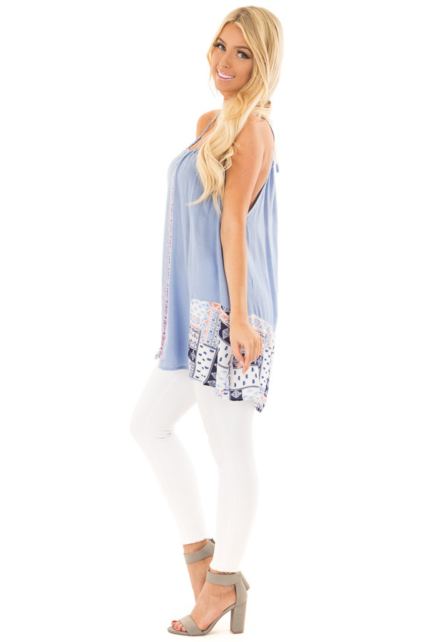 Chambray Embroidered Tank Top side full body