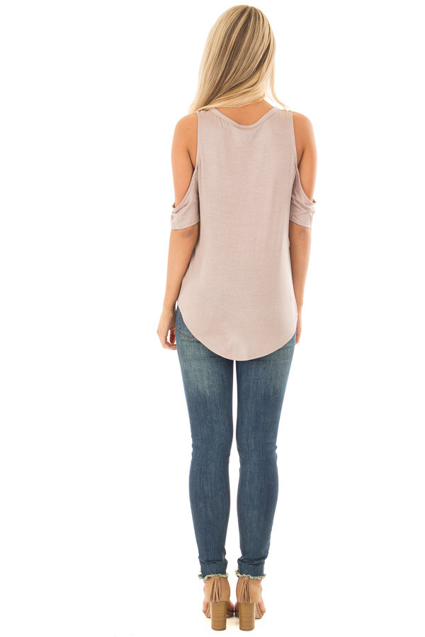 Mocha Cold Shoulder Top with Front Knot back full body